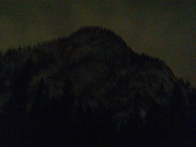 Tunnel mountain at night.
