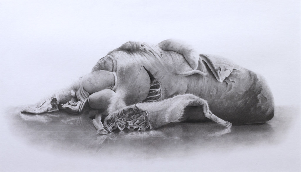 "Mike Price Necropagnosia 1 22"" x 42"" Powdered Graphite and Pencil 2013"
