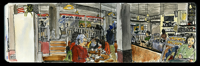 Sketching at Our Town Cafe, Vancouver
