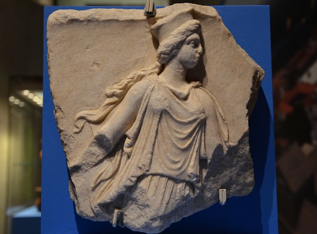 Fragment of a marble relief depicting a Kore, 3rd century BC, from Panticapaeum, Taurica (Crimea)