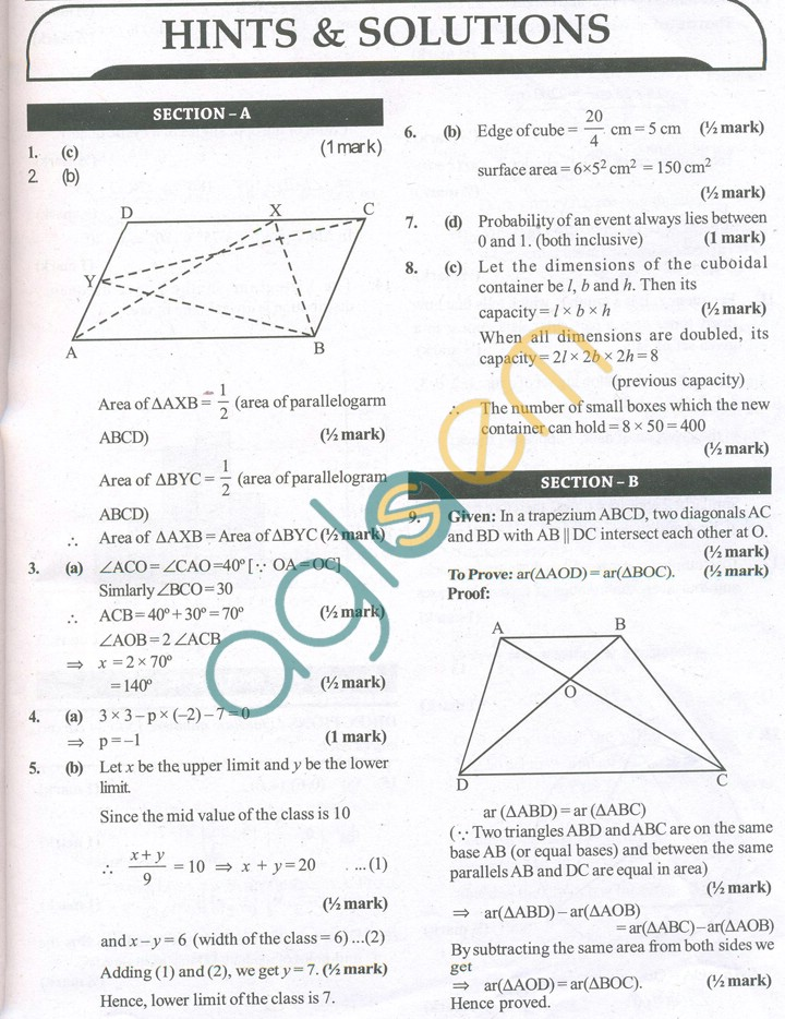 Sample papers of class 9 maths: CBSE Sample Papers for Class 9 Maths ...