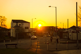 Sun setting on Fylde Road