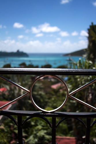 ocean cruise blue winter vacation sky sun water clouds port fence bay carribean bluesky right ef28135mm stthomas okay charlotteamalie hff hollandamerica canoneos50d butitstillcounts happyfencefriday southerncarribeancruise itisarailingnotafence