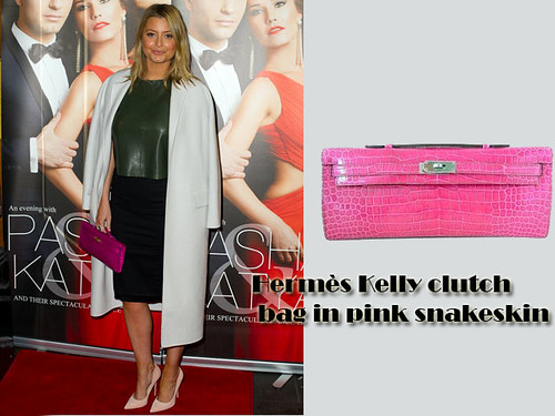 Hermès Kelly clutch bag in pink snakeskin