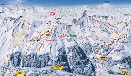 Grimentz Zinal - mapa sjezdovek