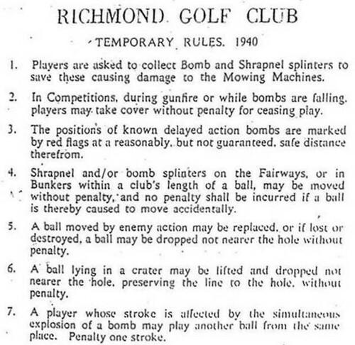 reglas de golf durante Segunda Guerra Mundial