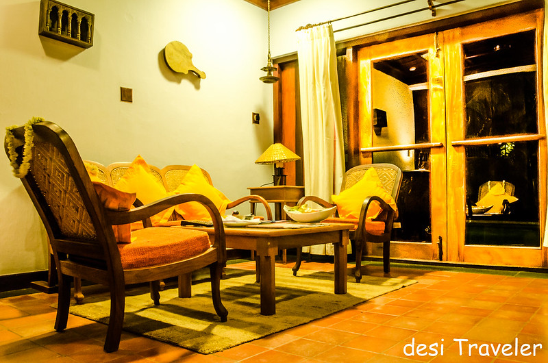 Living room of duplex villa Kumarakom Lake Resort
