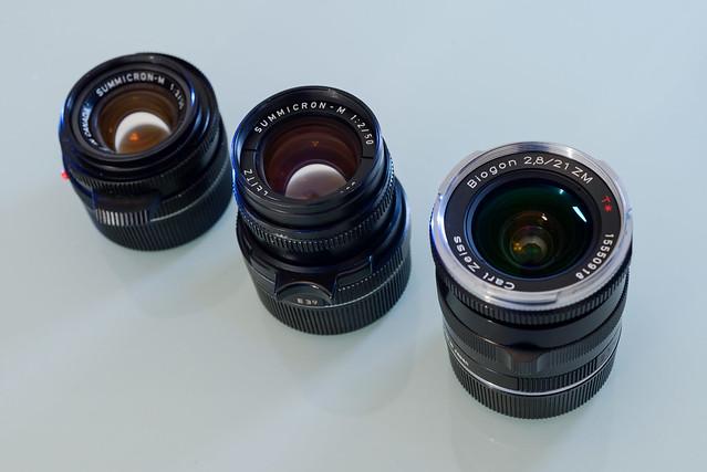 【排排站】由左至右為 Leica 35 f/2, Leica 50 f/2, Zeiss 21 f/2.8.