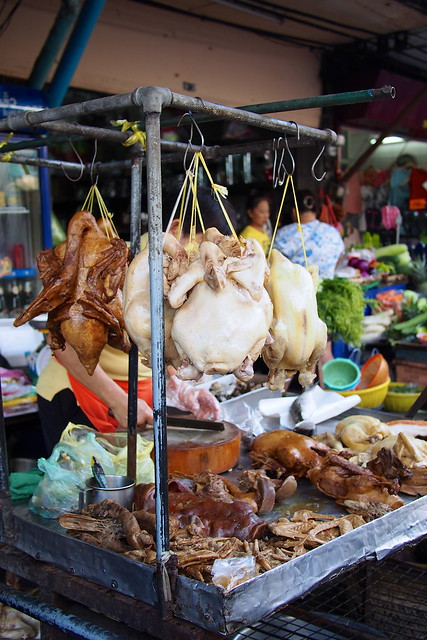 roast chicken, white chicken, Silom Soi 20 market, Bangkok, Thailand