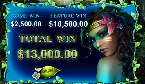 free Secrets of the Amazon Bonus Game Total Win