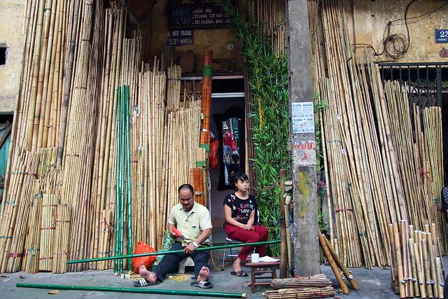 bamboo sellers, Hanoi, Vietnam