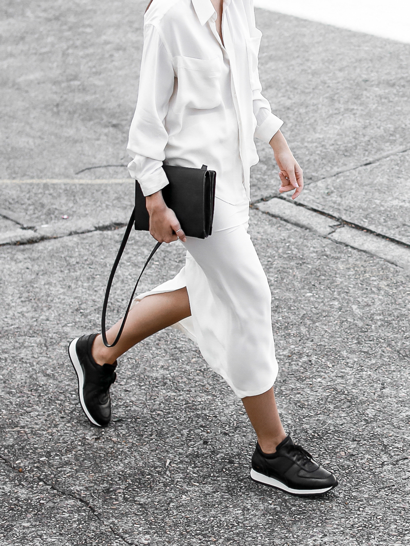 MODERN LEGACY sport luxe street style white on white midi skirt Common Projects black leather sneakers off duty (1 of 1)
