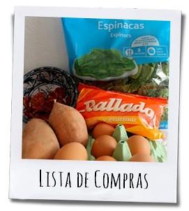 Het boodschappenlijstje voor een Spaanse aardappelomelet met spinazie en chorizo voor twee personen
