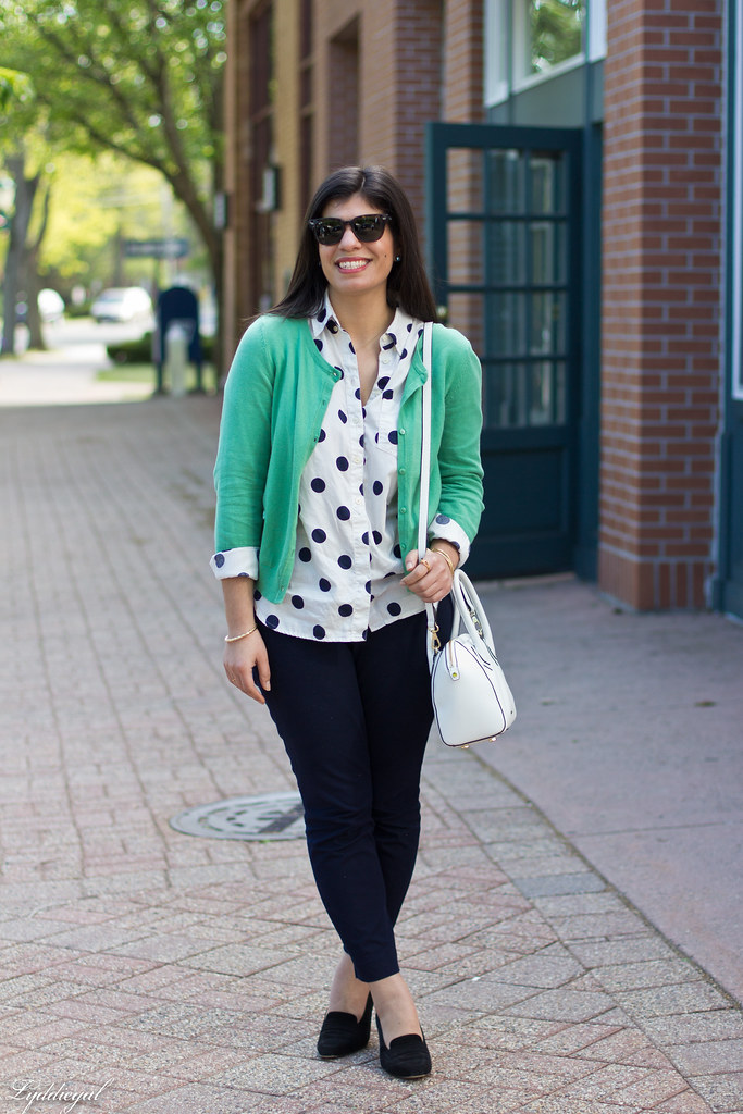 polka dot shirt, green cardigan, navy pants-5.jpg