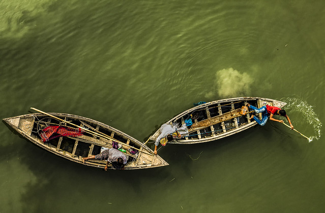 Floating life in boats