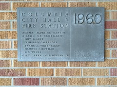 Columbia Mississippi City Hall and Fire Station plaque. 1960 R.W. Naef F.A.I.A. Archt.