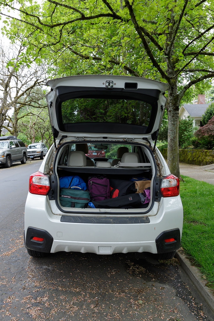 My Subaru Crosstrek loaded up with bags for my trip to Olympic National Park