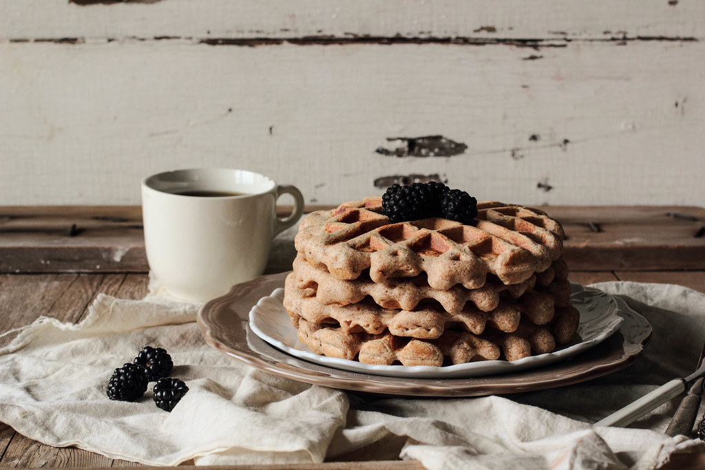 Whole Wheat Almond Waffles with Blackberry Vanilla Syrup