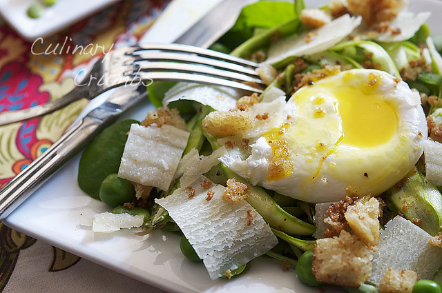 yolky poached egg and spring greens