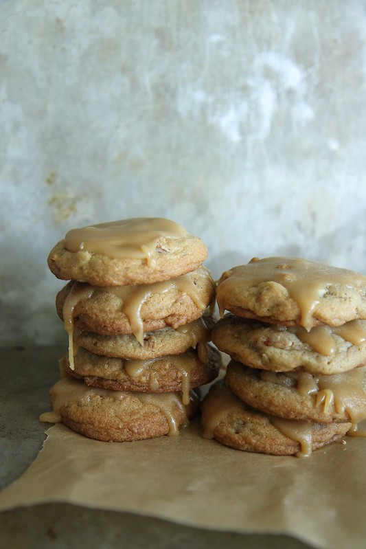 Brown Sugar Pecan Cookies with Caramel Glaze
