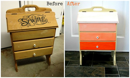 Orange Ombre Vintage Sewing Case - Before and After - The Silly Pearl