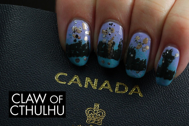 Canada Day Fireworks Inspired Nail Art