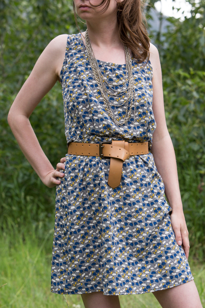 blue dress, cut-out dress, chain necklace, brown belt, Never Fully Dressed,