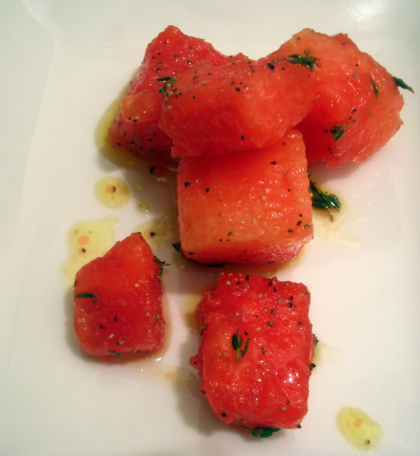 Watermelon, thyme, olive oil