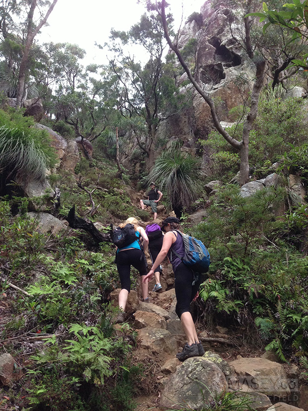 Approaching the start of the gully ascent of Mount Maroon.
