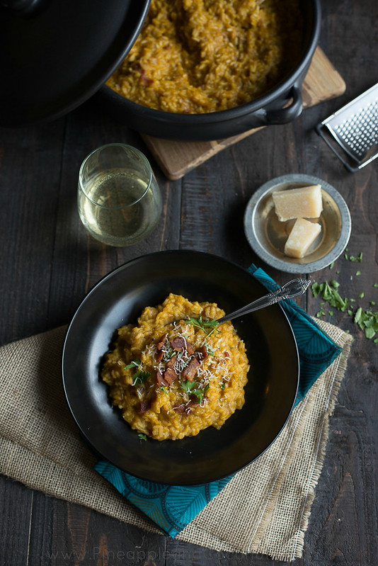Creamy Maple Bacon Pumpkin Risotto #Pumpkinweek www.pineappleandcoconut.com