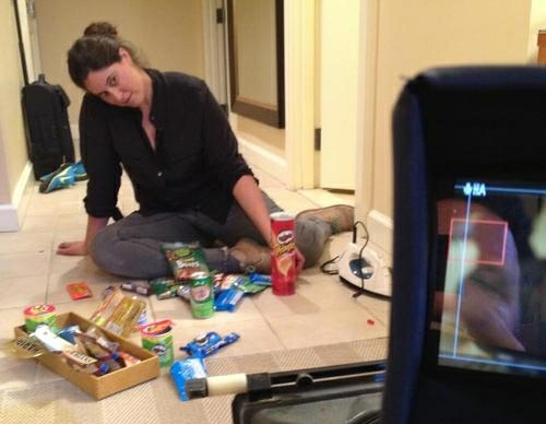 Amy Rubin, surrounded by chips