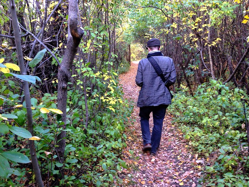 Aidan along the riverbank in Saskatoon