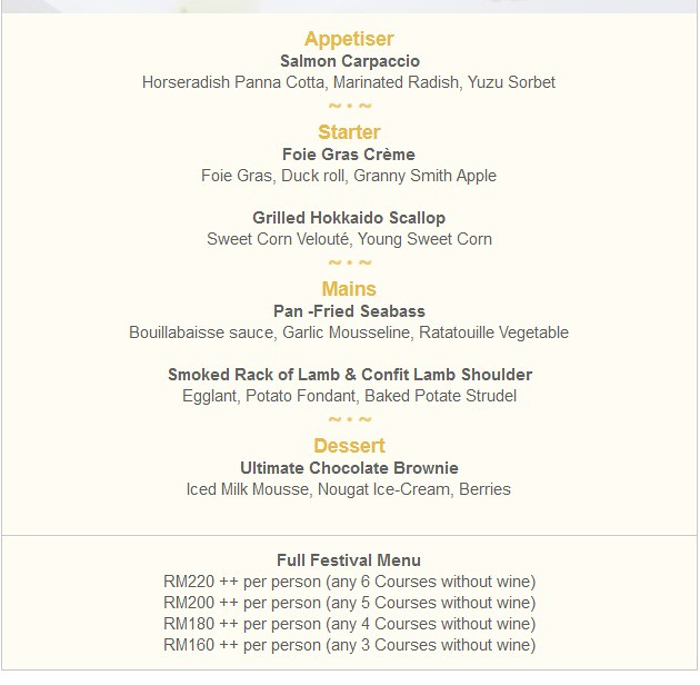 migf menu - the restaurant - the club saujana resort