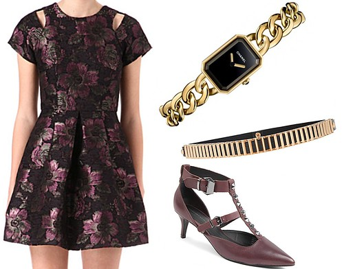 Sam Muses, UK Fashion Blog, London Style Blogger, Chanel Premier Watch, Chain Link, Gold, The Watch Gallery, Jacquard Floral Mini Dress, Cut Out, Cold Shoulder, Warehouse, Selfridges, Winter Florals, Berry, Studded Midi Heel Plum Shoes, Kurt Geiger