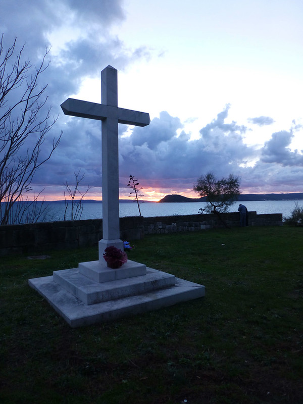 Sunset and a cross in croatia