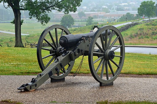 First Day July 1, 1863 ... Oak Ridge Cannon Pointing SE towards McPherson Ridge (Gettysburg College in Background), Gettysburg, Pennsylvania USA