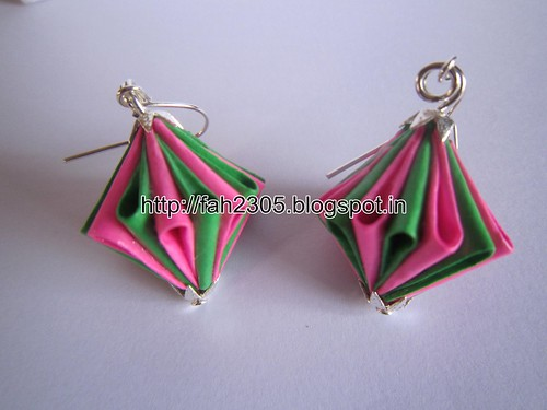 Handmade Jewelry - Origam Unit Diamond Paper Earrings (6) by fah2305