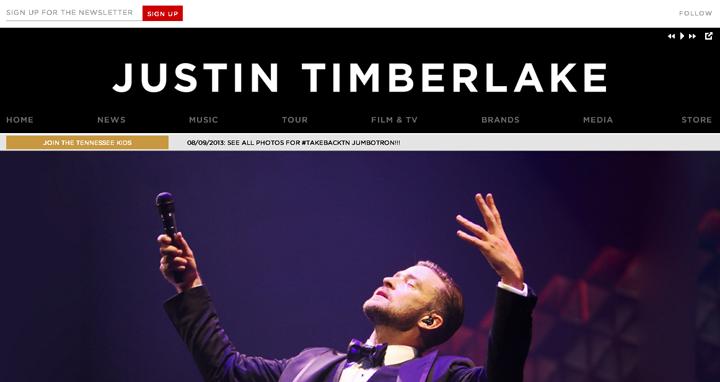 screenshot official website justin timberlake | ekajogja.com