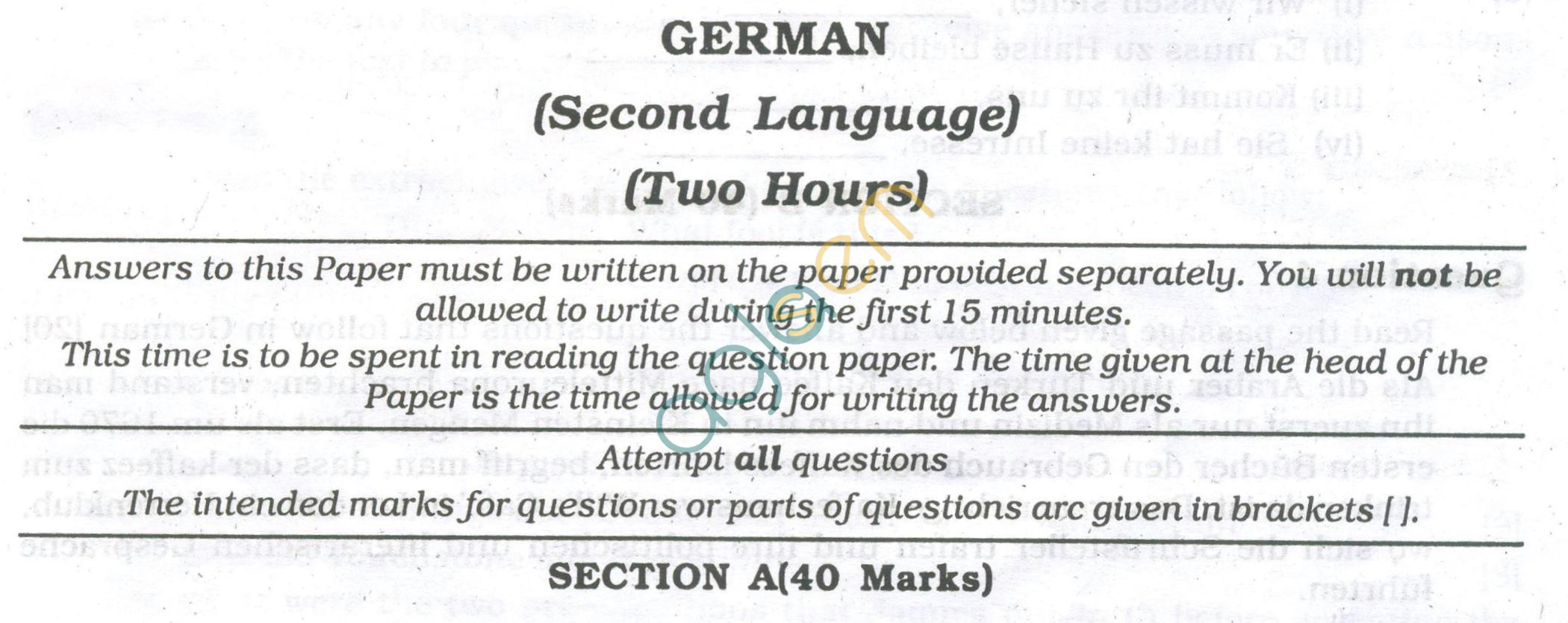 ICSE Question Papers 2013 for Class 10 - German