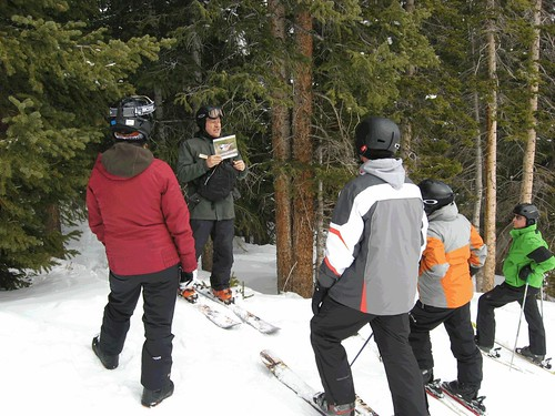 Volunteer snow ranger Conradt Fredell shares his love of skiing and the beautiful landscape of the Arapaho National Forest by taking Loveland Ski Area visitors on an educational tour. The ski area is entirely on Forest Service land. (U.S. Forest Service)