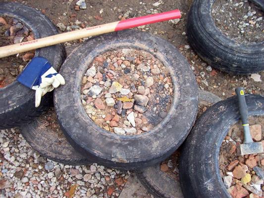 Rammed earth tyre