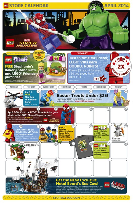LEGO Shop April 2014 Calendar