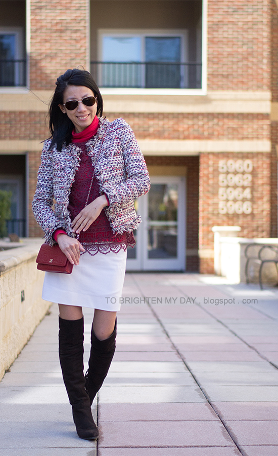 tweed jacket, lace top, white skirt, over the knee brown suede boots