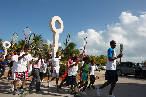 The Queen's Baton arrives at the tennis academy, in Anguilla, Tuesday 1 April 2014. Anguilla is nation 52 of 70 Commonwealth nations and territories to be visited by the Queen's Baton.
