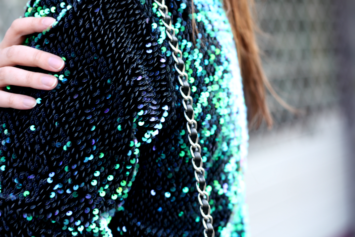 Green Sequined Sweater, Neoprene Skater Skirt - THE STYLING DUTCHMAN.