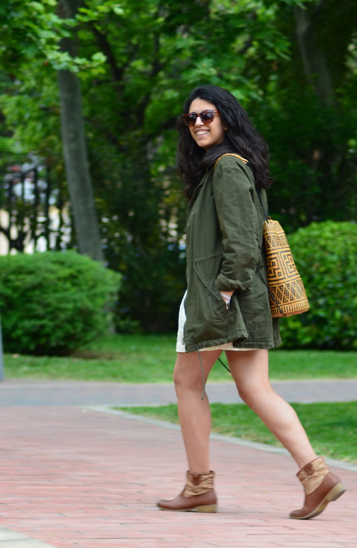 florenciablog green parka zara stradivarius look beig bolso hippie mochila gandia fashion style (8)