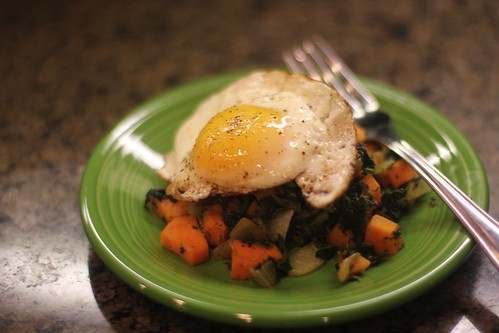 Sweet potato hash with an egg