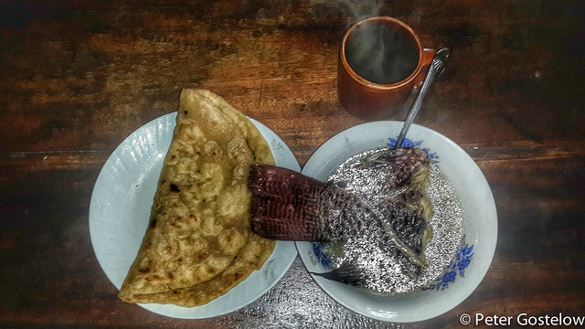 Fish soup, chapati and chai