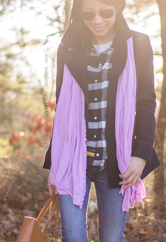 navy pea coat, lilac scarf, navy plaid shirt, yellow belt