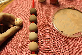 starting out - painting wooden beads in flesh tones